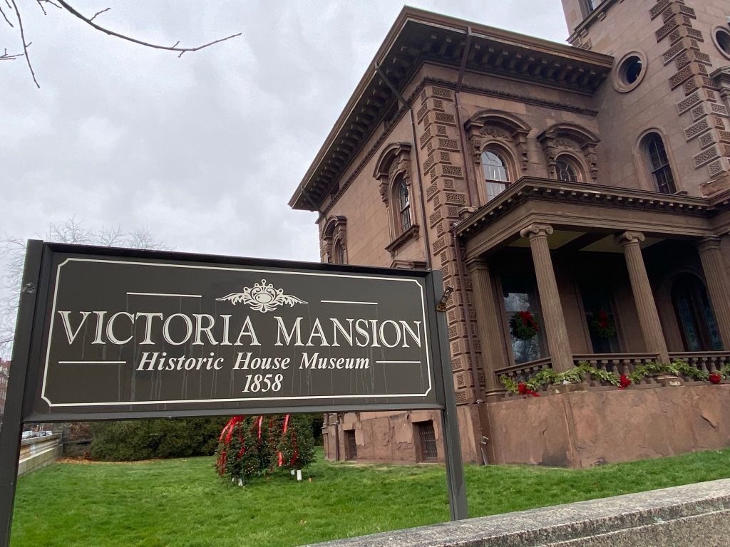 Merry Christmas! The Victoria Mansion is usually decked inside and out for the holidays, but is unfortunately closed this year due to Covid. But it still looks lovely on the outside.